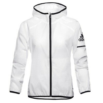 Adidas Damen Windbreaker Laufjacke Windjacke Training Jacke Top transparent weiß