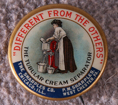 Antique 1896 Tubular Cream Separator Pinback Button Victorian Maiden Imagery NR
