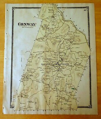 Antique Hand-Colored Map 1871 Conway, MA Massachusetts