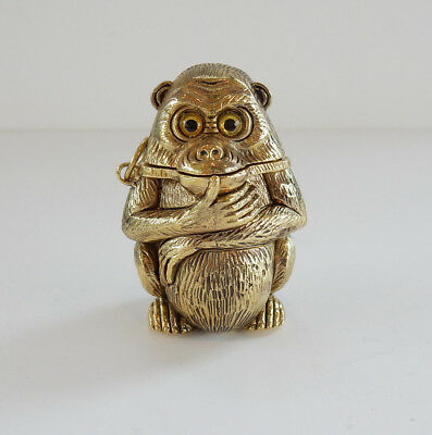 Novelty Polished Brass Embossed Monkey Match Safe Vesta