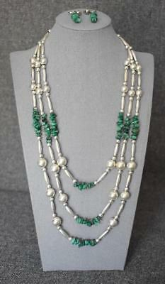 Triple Strand Mexican Sterling Silver Beads Turquoise Chunks Necklace + Earrings
