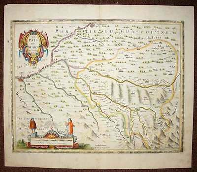 map geographic antique original BÉARN par Jansson 1640