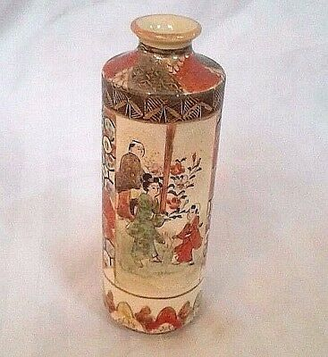 Satsuma Shozusan Meiji Period Antique Japanese Vase Signed  Small