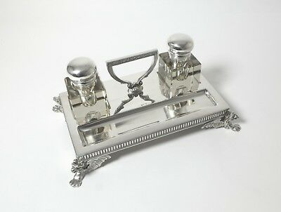 Table inkwell. Glass, silver. Sweden, 1903.