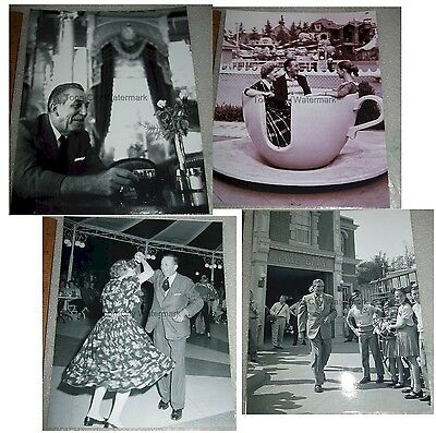black & white 8x10 photograph Walt Disney at Disneyland 1950s Fire Station