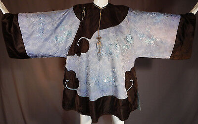 Antique Chinese Blue Silk Damask Embroidered Butterfly Black Trim Manchu Robe