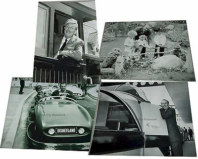 black & white 8x10 photograph Walt Disney at Disneyland 1950s Monorail Train Car