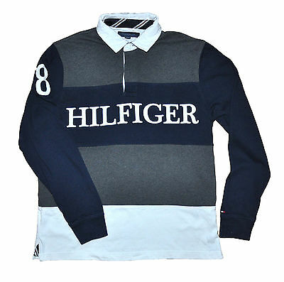 TOMMY HILFIGER men's navy grey striped rugby shirt Size M top polo trend logo
