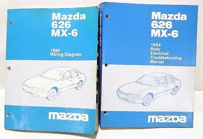 1994 mazda 626 mx-6 body electrical troubleshooting + schematic shop manual  2-bk
