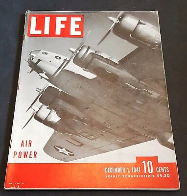 December 1, 1941 LIFE Magazine WWII Plane 40s ads  FREE SHIPPING Dec. 12 2 3 4 5