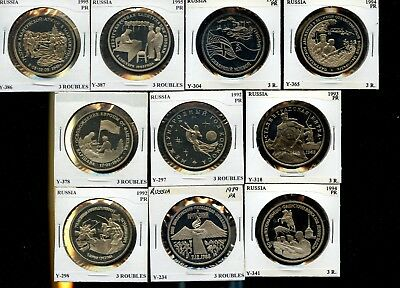 10 different Russian 3 rouble copper-nickel proofs from 1990's
