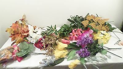 Lot of Assorted Silk & Plastic Flowers Autumn Leaves Flower Assortment