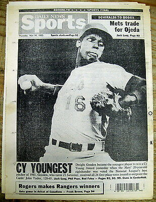 1985 NY Daily News newspaper Mets DWIGHT GOODEN youngest to WIN CY YOUNG Award
