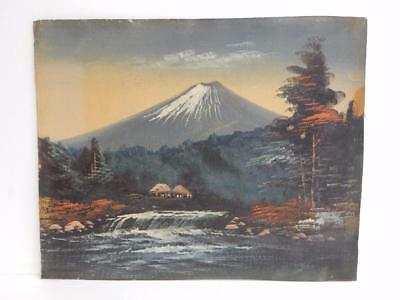 really old painting oriental JAPAN landscape