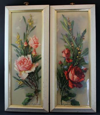 Vintage Pair Signed Catherine Klein Color Lithograph Print of Roses Framed