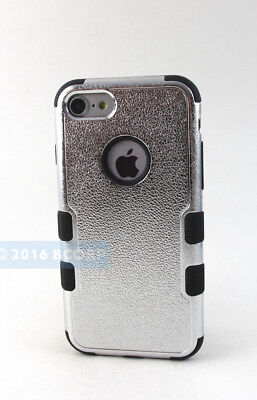 For Iphone 8 / 7 | Metallic Chrome Silver Black Dual Layer Tuff Case Cover