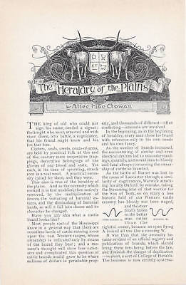 1894 Antique Magazine Article, Cattle Brands and Branding in the Old West