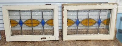 2 Antique Vintage Stained Glass Transom Windows