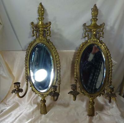 Pr Antique Bronze Wall Sconce Candle Holders w/Beveled Mirror Flame Finial c1880