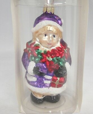 Glass Christmas Ornament Figural Girl in Purple Hand Painted Poland Pier 1  NIB