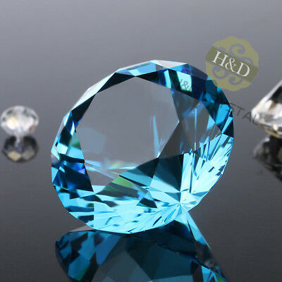 Sky Blue Crystal Diamond Shape Paperweight Cut Glass Wedding Gift 30mm