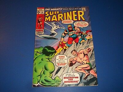 Sub-Mariner #35 Bronze Age 1st Defenders Silver Surfer Hulk Wow Fine+ Beauty