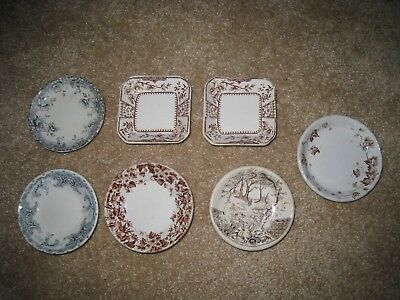 Antique Butter Pats - lot of 7 - blue and brown transfer