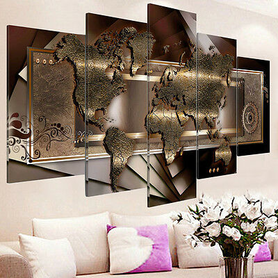 5PCS Framed Modern Abstract Art Canvas Oil Painting Print Home Wall Decor UK