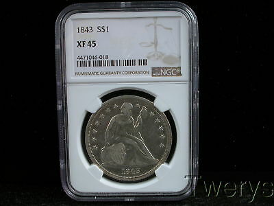 1843 Liberty Seated Silver Dollar Ngc Xf 45