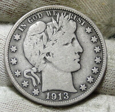 1913 Barber Half Dollar 50 Cents - Key Date 188,000 Minted, Free Shipping (5958)
