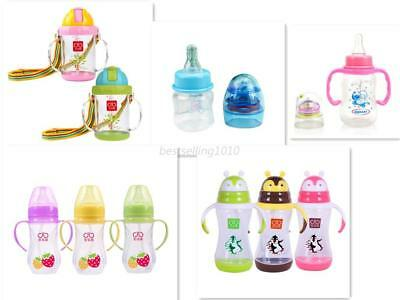 Kids Baby Suction Drinking Bottles Sippy With Straw Safety Handles Feeding Cups