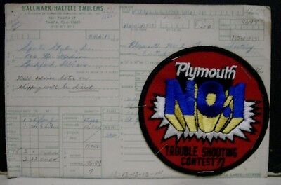 1960's Original Unused Plymouth No. 1 Trouble Shooting Contest Patch