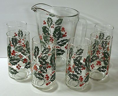 Vintage Crisa Glass Pitcher & 6 Glass Tumblers - Christmas Holly Red / Green