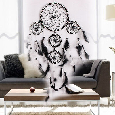 Black White Dream Catcher Feathers Wall Hanging Decoration Dreamcatcher Ornament