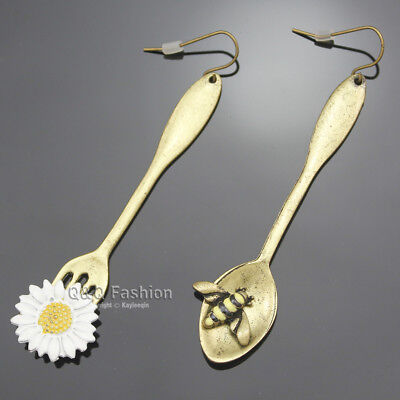 Vintage Gold Art Deco Spoon Bee Fork Flower Utensil Mismatch Dangle Earrings H3