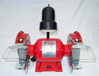 """8"""" Bench Grinder 1 HP with Work Light - 2950rpm incl Fine & Coarse Wheels NEW"""