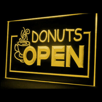 110010 OPEN Donuts Cafe Shop Bread Hot Coffee Roasted Wondering LED Light Sign