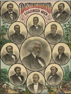 1883 African American Heroes Douglas Poster Distinguished Colored Men Print 1595