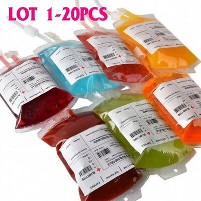 1-20X Reusable Iv Blood Bags Halloween Party Haunted Drink Container Decoration