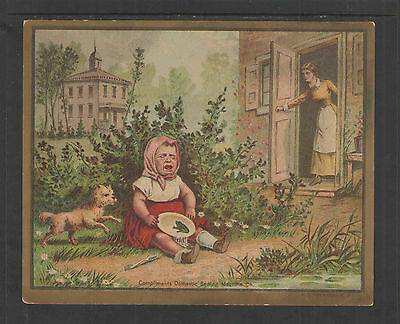 1880s DOMESTIC SEWING MACHINE FROG CHILD CRYING ADVERTISING VICTORIAN TRADE CARD