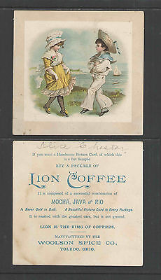 1880s BOY & GIRL AT THE BEACH   LION COFFEE   ADVERTISING VICTORIAN TRADE CARD