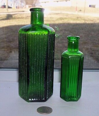 TWO RIDGE GREEN SIX SIDED POISONS, LARGE ONE EMBOSSED ON BASE, 8 oz