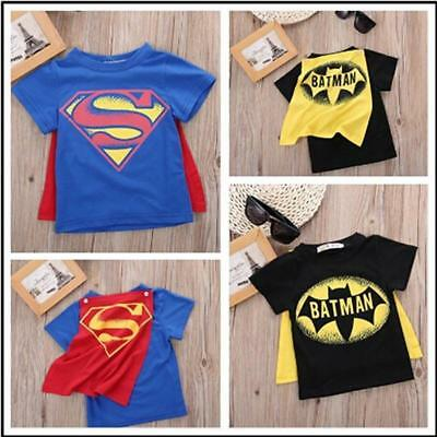 Batman Superman Cosplay Kids Boys Girls Toddler T Shirt Tee With Cape Cloak B