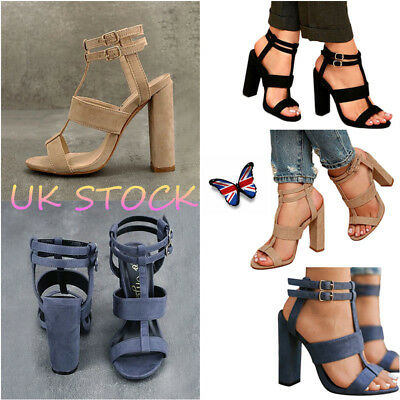 UK Women's Ankle Straps Sandals Party Suede Block Heels Peep Toe Strappy Shoes