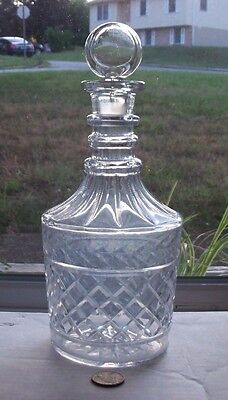 Victorian Cut Glass Decanter With Working Glass Topper