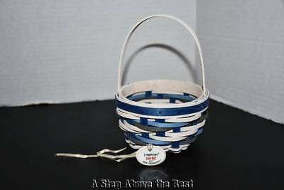 Longaberger '17 Tree Trimming Snow Ball Basket in WW & Royal Blue #1355969 NEW