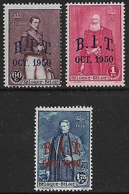 BELGIUM 1930 B.I.T. Set of 3 SG 569-571 MH/* (Cat £35)