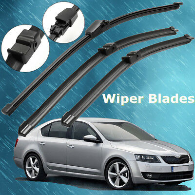 "Front Rear Windscreen Wiper Blades For SKODA Octavia Mk2 2004 - 2013 16"" 19"" 24"""