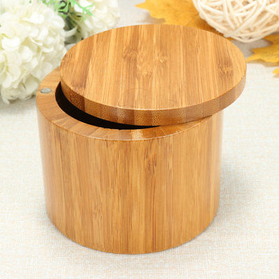Bamboo Wood Round Salt Pepper Spices Box Kitchen Storage Case With Magnet Lid