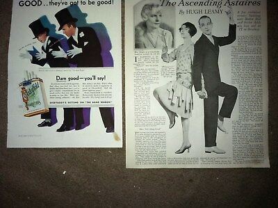 2 1928 1931 Fred & Adele Astaire Magazine Ad & Article